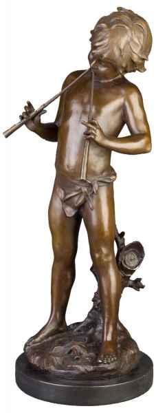 Bronzeskulptur kleiner Pfeiffer im Antik-Stil Bronze Figur Statue 73cm