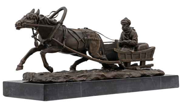Bronzeskulptur Pferd Pferdeschlitten Antik-Stil Bronze Figur Statue 42cm
