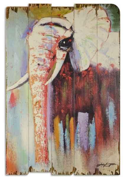 Bild Wandtafel Holzbild Wandbild Elefant Tier Stoßzahn Rüssel Holz Antik-Stil