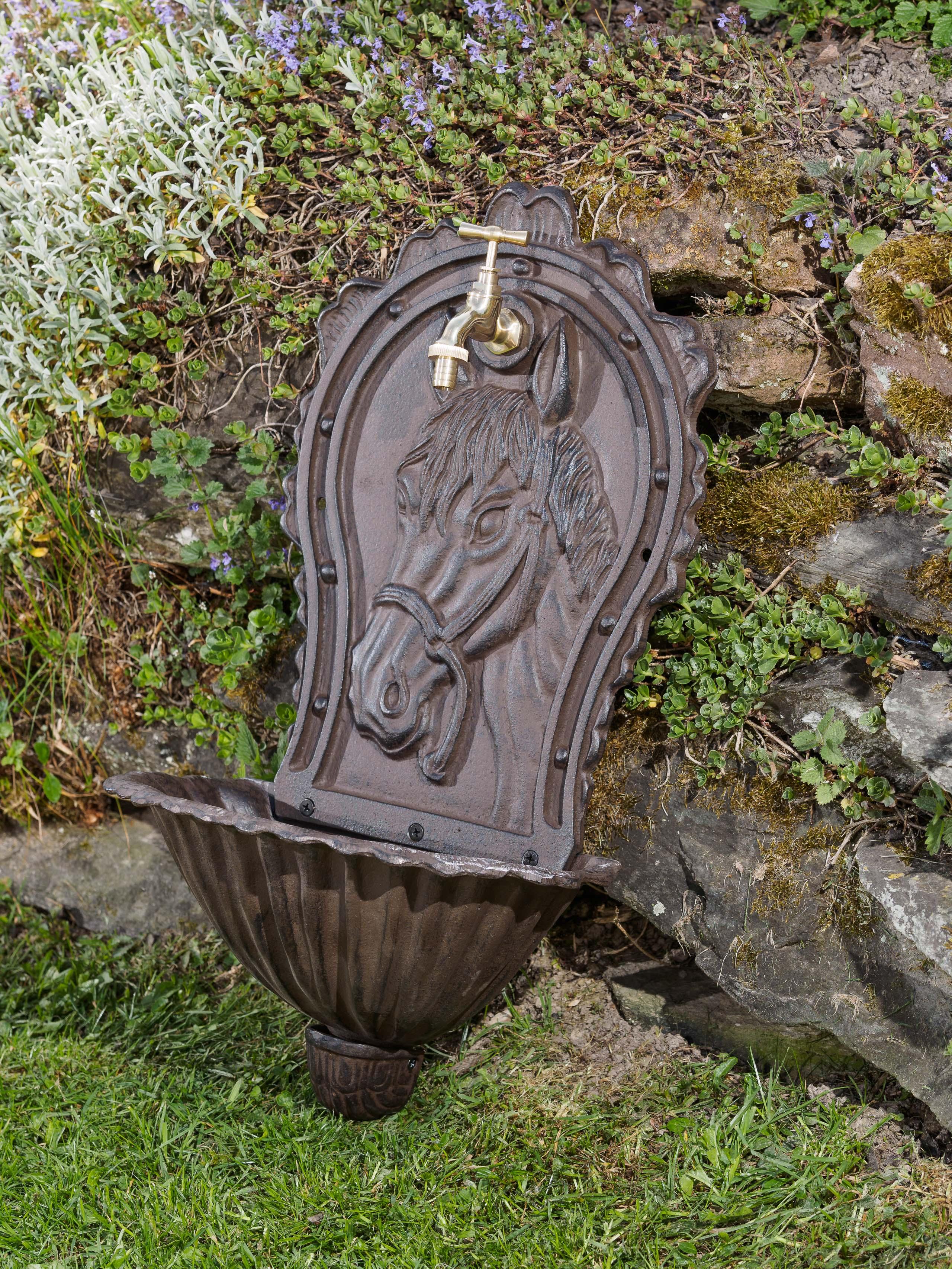Waschbecken Wandbrunnen Garten Eisen Nostalgie Antik Stil Pferd