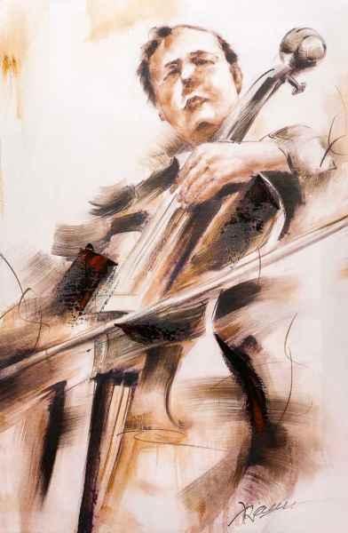 Ölbild Musik Musiker Bass Kontrabass Keilrahmen Bild modern 90x60cm Gemälde Stil