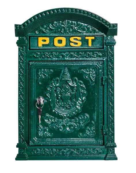 Briefkasten Wandbriefkasten 44cm Eisen Nostalgie Postkasten grün Antik-Stil