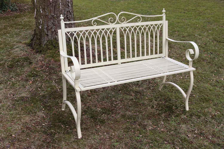 gartenbank bank antik stil garten metall creme wei gartenm bel parkbank 119cm aubaho. Black Bedroom Furniture Sets. Home Design Ideas