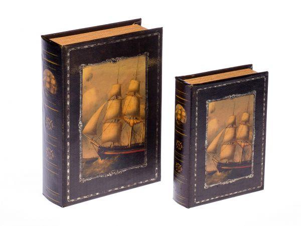 2x Buchattrappe Etui Box Schmucketui Buch Schiff Segelschiff antik Stil book box