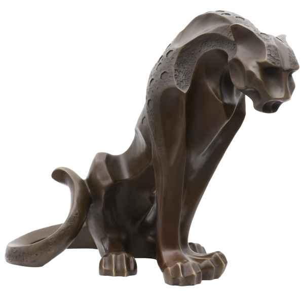 Bronzeskulptur im Antik-Stil Bronze Figur Statue Leopard Panther Raubkatze