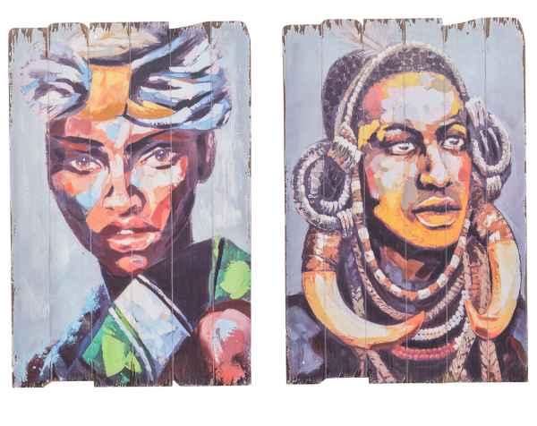 2x Bild Wandtafel Holzbild Wandbild Massai Person Afrika Holz Antik-Stil 90cm