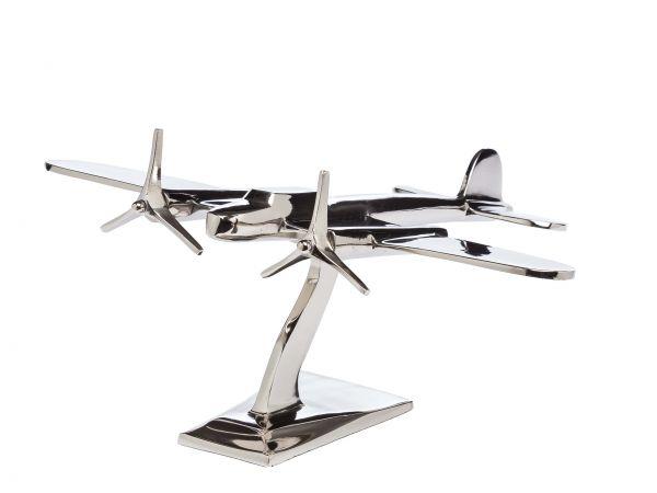 Flugzeug Modell 38,5cm Aluminium Flugzeugmodell silber Artdeco Stil Metall