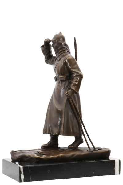 Bronzeskulptur Russland Soldat Ski im Antik-Stil Bronze Figur Statue 26cm