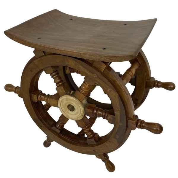 Beistelltisch Hocker Tisch Schiff Steuerrad Schiffsteuerrad Holz Messing 45cm