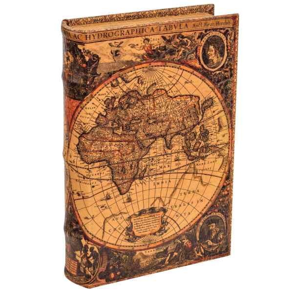 Buchtresor Buchsafe Buchattrappe Geheimversteck Geheimsafe Weltkarte Box 26cm