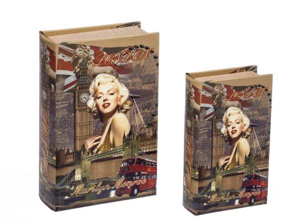 2x Schatulle Marilyn Monroe Buch Buchattrappe Aufbewahrung Schmucketui book box