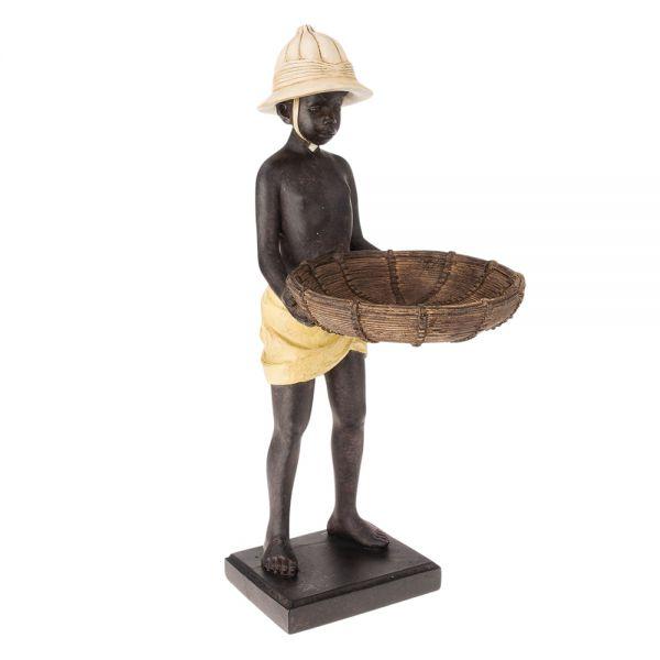 Skulptur Figur Mohr Diener Afrika mit Tablett Schale Kellner Butler Visitenkarte
