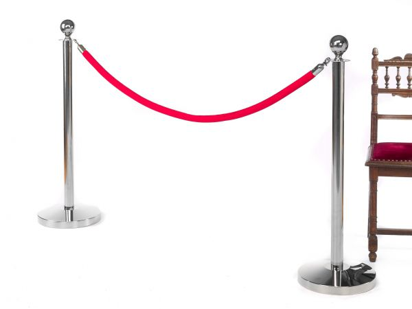 Absperrung VIP Ständer Begrenzung Chrom Roter Teppich Design Absperrpfosten