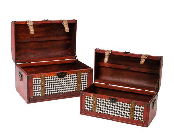 2x Truhe Holz Koffer Kiste Box Boxen Truhen Schatztruhen Nostalgie antik Stil