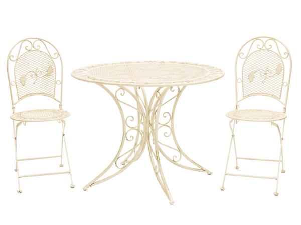 Gartenmöbel Garnitur Garten Tisch 100cm und 2 Stühle Eisen Antikstil creme weiß