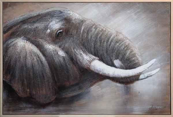 Original riesiges Gemälde Ölgemälde Elefant Afrika Bild mit Rahmen 124x84cm