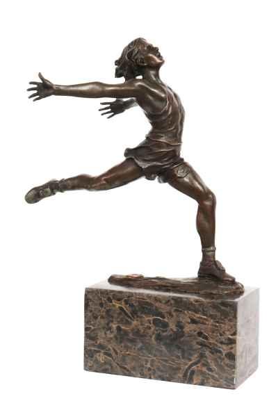 Bronzeskulptur Läufer 28cm Bronze Leichtathletik Statue Bronzefigur Antik-Stil