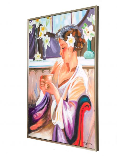 Original Gemälde Ölgemälde Frau mit Tee Kaffee Tasse mit Rahmen modern 124cm
