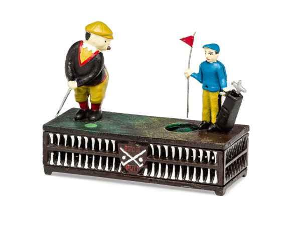Spardose Birdie Putt Golf Golfspieler golfen Antik-Stil Eisen Dekoration