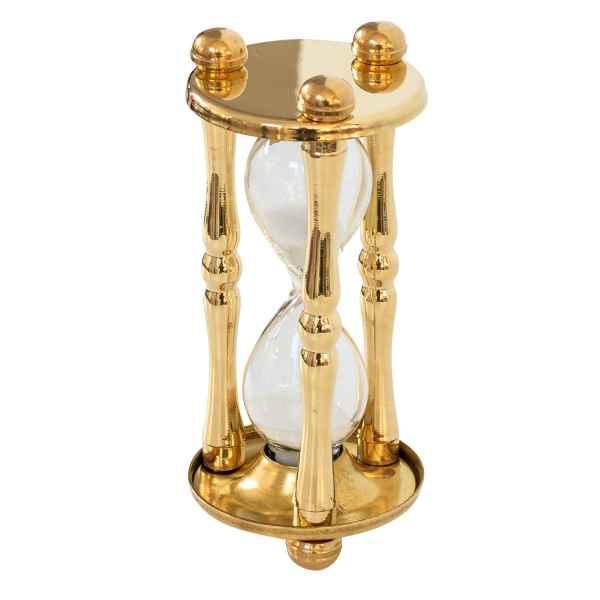 Sanduhr Stundenglas Glas Messing Antik-Stil - 12cm