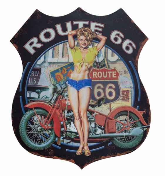 Wandschild Blechschild Route 66 Wanddekoration Pin Up Amerika 80cm Antik Stil