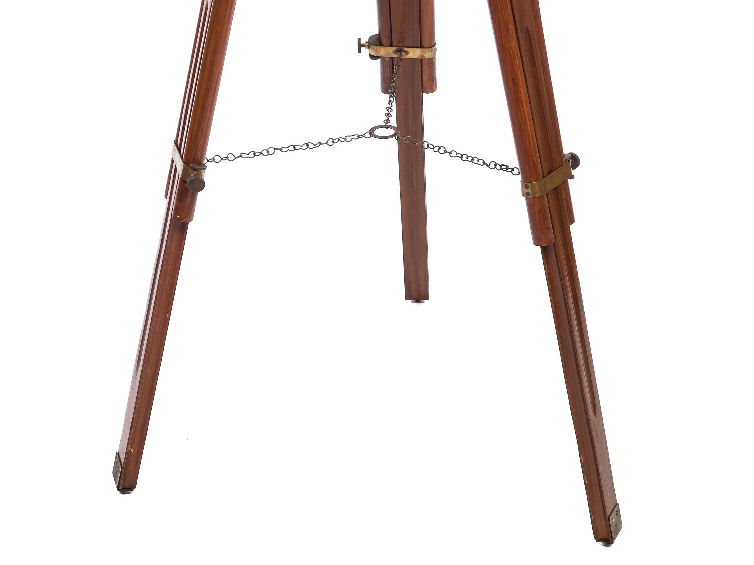 Großes Fernrohr Fernglas Teleskop Messing mit Holz Stativ 150cm antik Stil