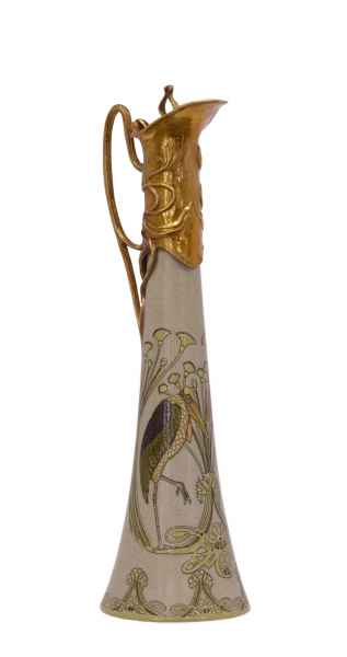 Krug Kanne Wein Rotwein Vogel Skulptur Porzellan Antik-Stil 40cm