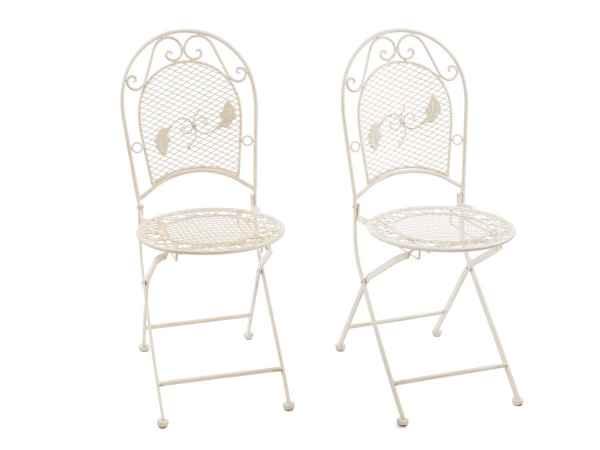 2x Gartenstuhl je 9kg Eisen Garten Stuhl Klappstuhl antik Stil creme weiss