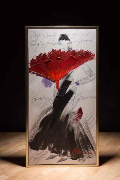 Original Ölgemälde mit Rahmen Japan Asien Dame Frau Gemälde Bild 104x54cm