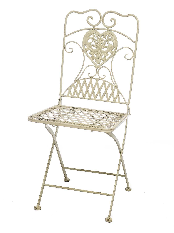 2x gartenstuhl stuhl bistrostuhl garten eisen antik stil creme wei aubaho. Black Bedroom Furniture Sets. Home Design Ideas