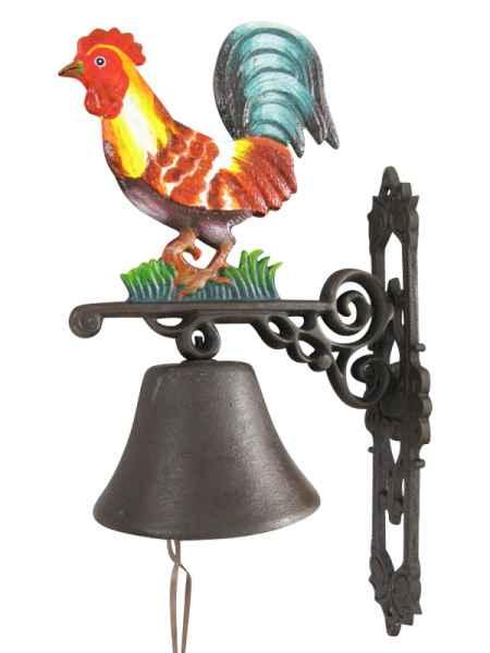 Wandglocke Türglocke Glocke Gusseisen Hahn Dekoration Eisen Antik-Stil 65cm