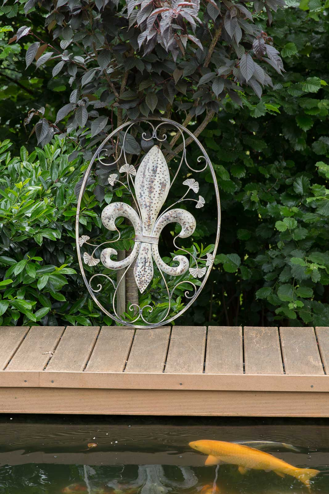 wanddekoration lilie fenster 82cm metall deko garten terrasse wall decoration aubaho. Black Bedroom Furniture Sets. Home Design Ideas