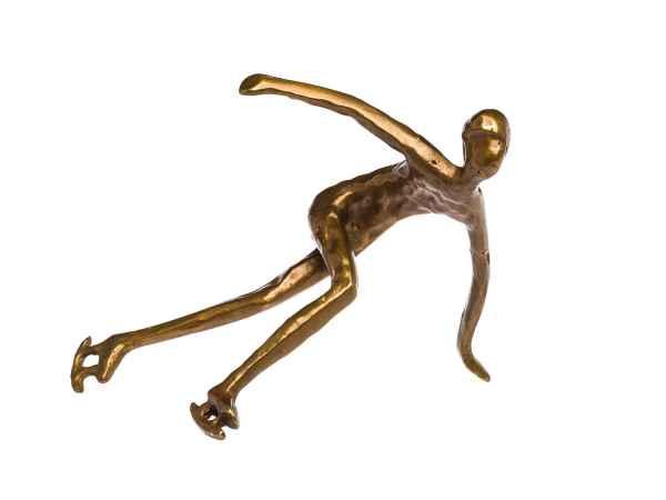 Skulptur Schlittschuhläufer Eisschnelllauf Antik-Stil Bronze Figur Pokal Trophäe