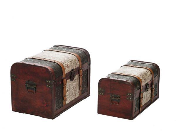 2x Truhe im Nostalgie Antik Stil Truhen Boxen Kiste Koffer Aufbewahrung Box Holz