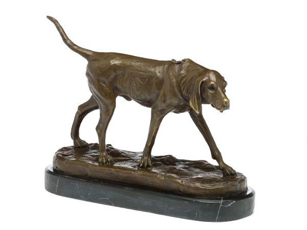 Bronze Jagdhund Skulptur Hund Figur Bronzefigur Bronzeskulptur antik Stil dog