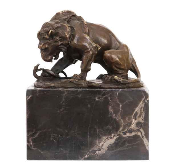 Skulptur Löwe Schlange Antik-Stil Bronzeskulptur Bronze Figur Statue 15cm