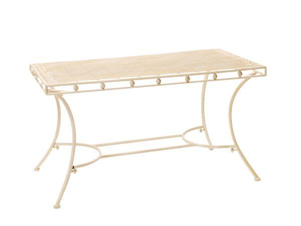 Nostalgie Gartentisch cremeweiß Eisen Tisch Loungetisch antik Stil garden table