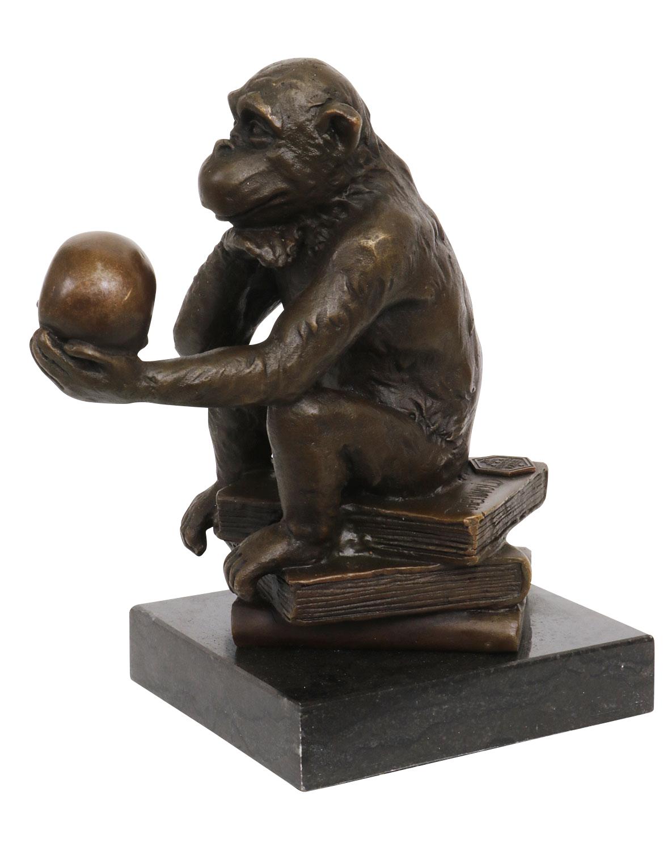 Bronzeskulptur Affe Totenkopf Schädel Bronze Darwin Statue Bronzefigur Antikstil