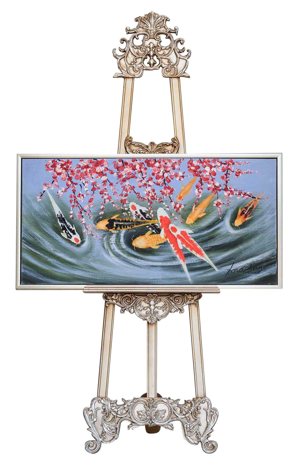 Oil painting fish koi pond aquarium koi carp painting for Fische in teich