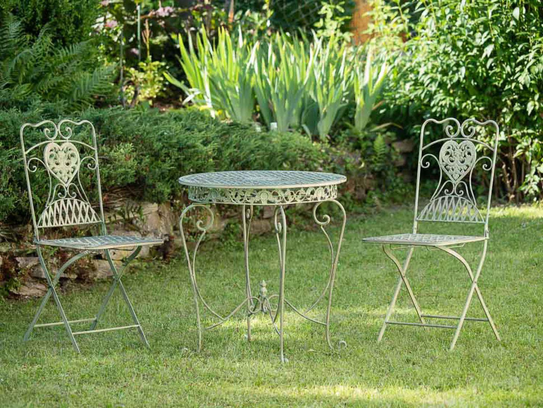 Juego juego mesa y 2 sillas de estilo antiguo de hierro for Juego de jardin de hierro antiguo