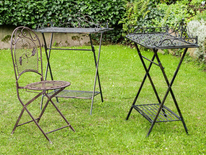 2x Butlers Tray Serviertisch Gartentisch Eisen Garten Klapptisch