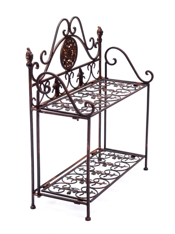 nostalgie regal wandregal wandgarderobe garderobe eisen antik stil lilie ebay. Black Bedroom Furniture Sets. Home Design Ideas