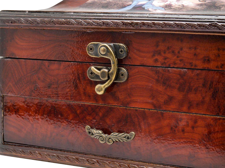 Contenitore di monili box specchio gioielli in stile legno for Specchio stile antico