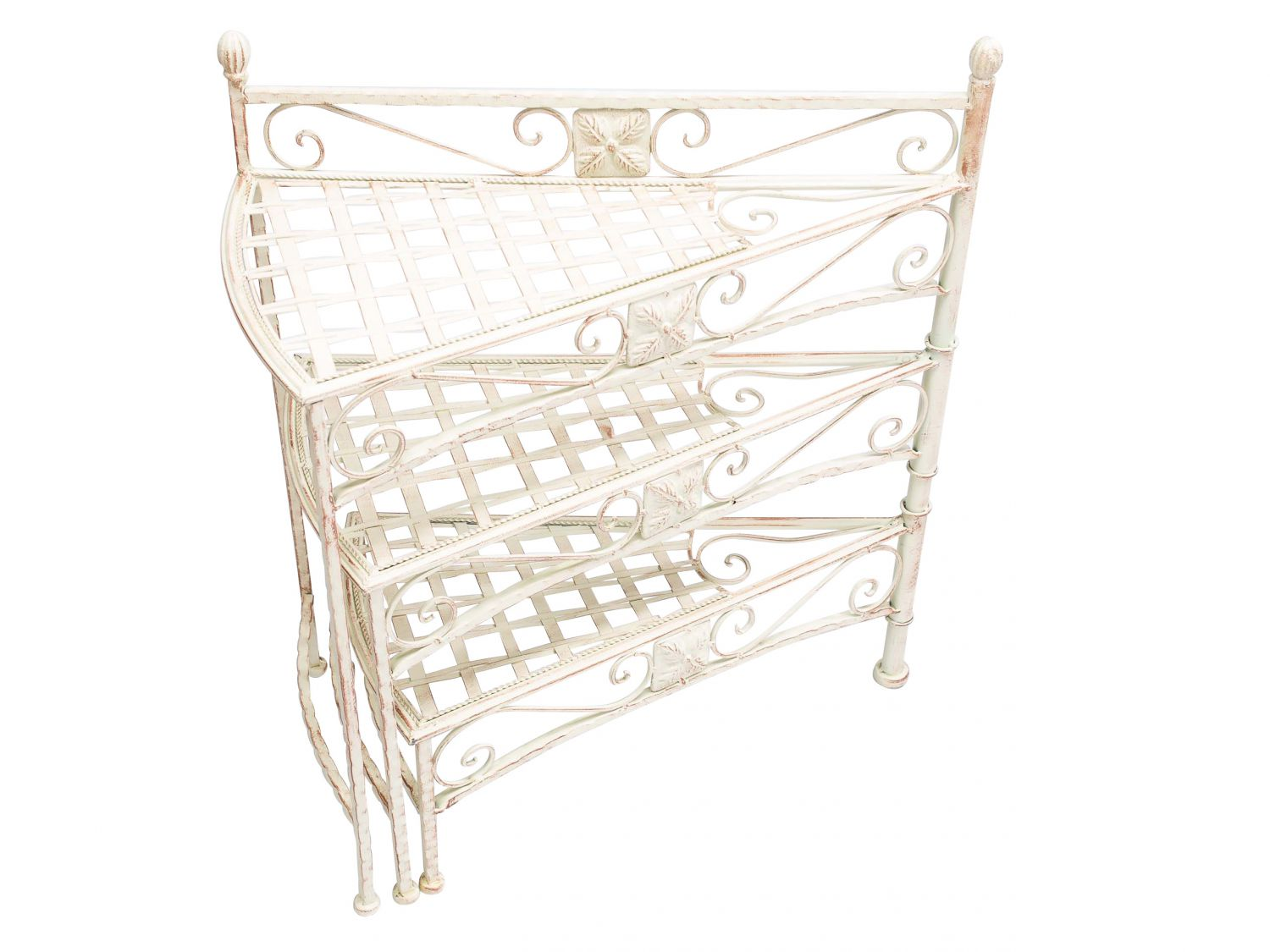 meuble tag res pour pot de fleurs plantes style antique escalier blanc ebay. Black Bedroom Furniture Sets. Home Design Ideas