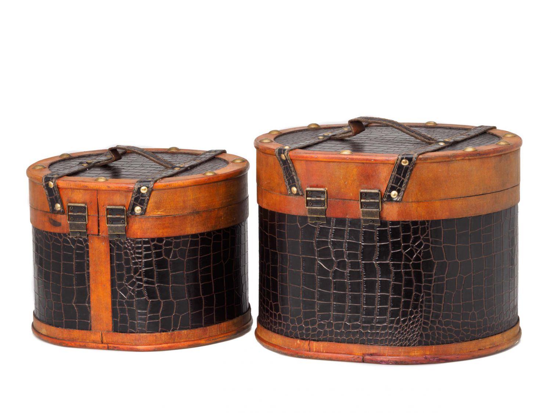 paar set hutkoffer hutschachtel holz antik stil box truhe. Black Bedroom Furniture Sets. Home Design Ideas