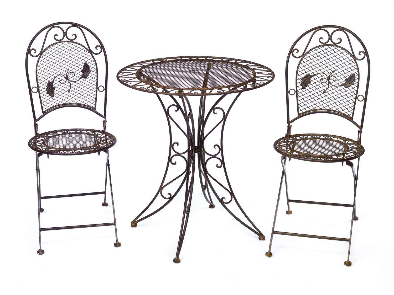 Gartentisch 2x Stuhl Eisen Antik-Stil Gartenmöbel Garnitur Garten ...