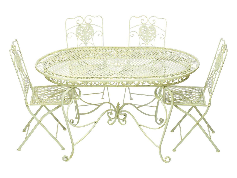 Garnitur Gartentisch 4 Stühle creme weiss Eisen Gartenmöbel antik ...