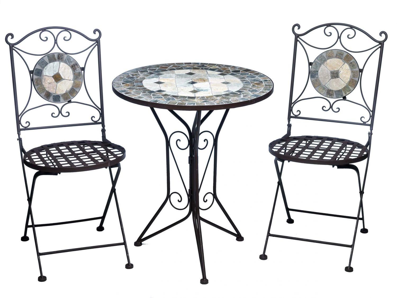 Set tavolo da giardino e 2 sedie piastrelle a mosaico ferro sedia