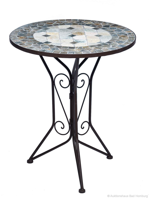 Garnitur Gartentisch 2 Stühle Eisen Fliesen Mosaik Garten