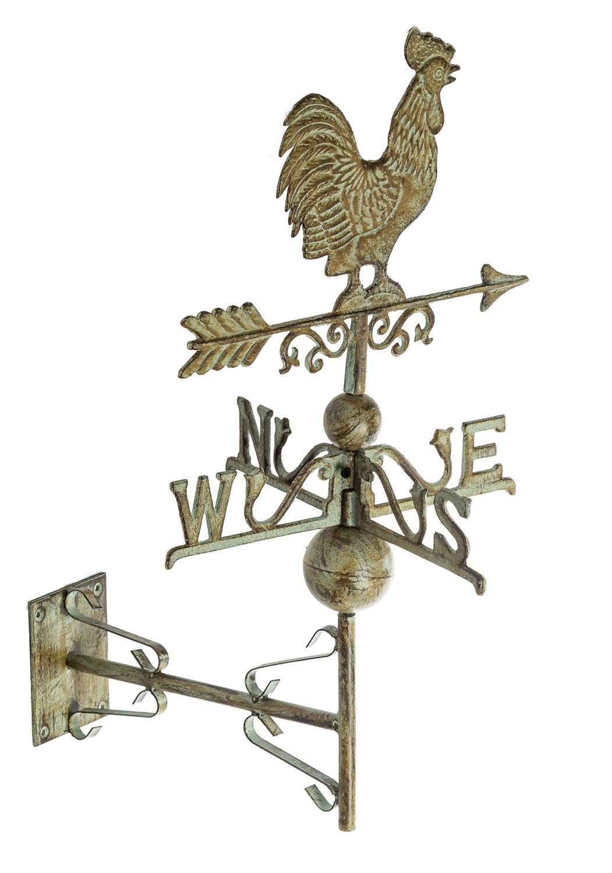 Nostalgie Wetterhahn Standfuss Hahn Garten Dekoration Eisen Wetterfahne Rost